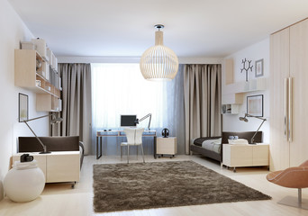 Bedroom with two single beds in minimalism style