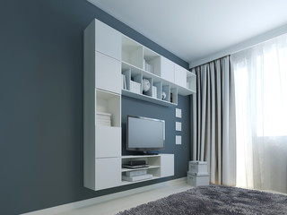 Living room with wall cabinet trend