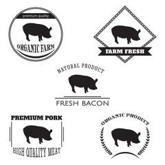 Set pig farm logo emblem. Natural and fresh farm. Vector illustration - stock vector