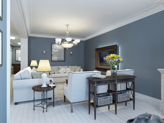 Idea of classic lounge with navy walls