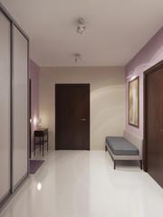 Design of spacious minimalist hallway