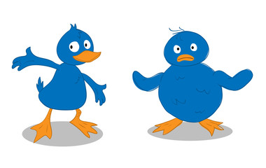 A Blue Duckling & A Blue Chick, a hand drawn vector illustration of a blue duckling and a blue chick, isolated on a white background (editable).