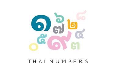 Thai alphabet number vector