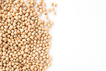Soy beans high protein on white isolated background