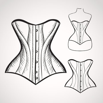 Hand drawn corset