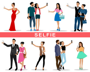 Set of young people and fashion couples making selfie