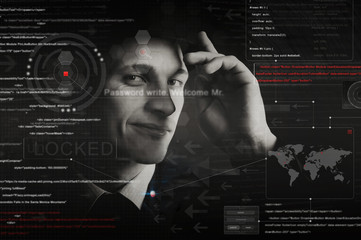 hacker silhouette with graphic user interface around