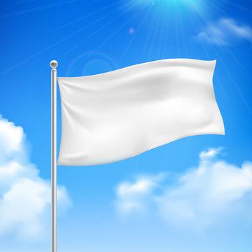 White flag blue sky background poster