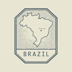 Stamp with the name and map of Brazil