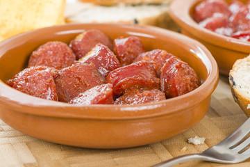 Chorizo a la Sidra - Spanish spicy chorizo sausages cooked in cider.