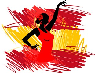 Flamenco dancer over Spanish Flag Background