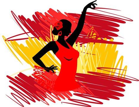 Flamenco dancer over Spanish Flag Background