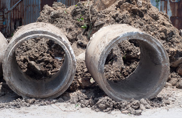 dirty drainage concrete pipe