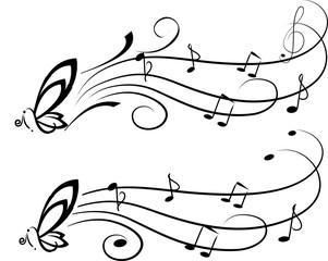 Farfalla con portativo e note musicali