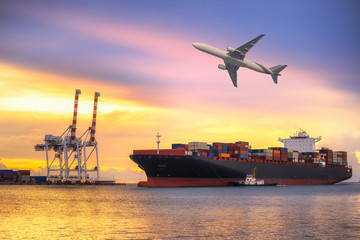 Wall Mural - Ship for container with working crane bridge in shipyard for Logistic Import Export background