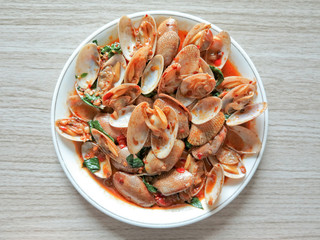 Stir fried clams with roasted chili paste,Thai food