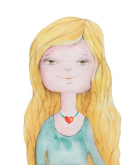 Girl Portrait with blonde long hair. Heart. Watercolor