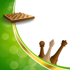 Background abstract green gold chess game brown beige board figures frame illustration vector