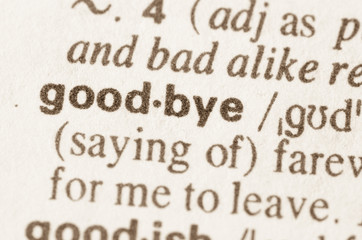 Dictionary definition of word goodby
