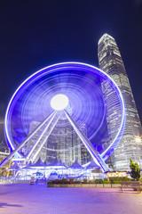 Ferries wheel in Hong Kong at night