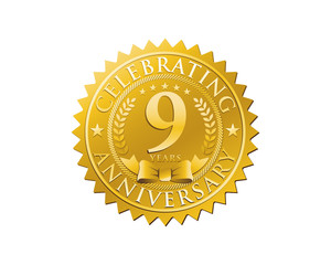 anniversary logo golden emblem 9