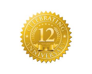 anniversary logo golden emblem 12