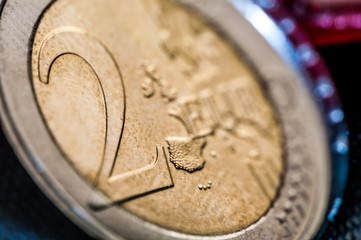 two Euro Coin closeup frontside
