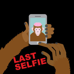 Last selfie before his death. Selfie Monkey with an open skull a