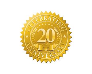 anniversary logo golden emblem 20