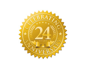 anniversary logo golden emblem 24