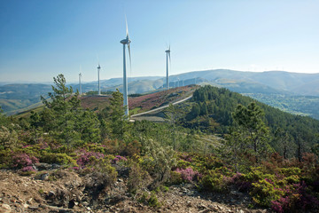 Parc éolien dominant la vallée de l'algavre à 100 km de Porto.