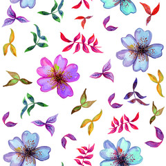 Watercolor seamless pattern with decorative colorful flowers and