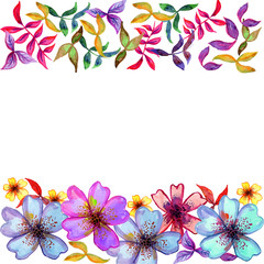Watercolor card with decorative colorful flowers and copy space