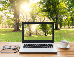 laptop computer and coffee on wood workspace and park background