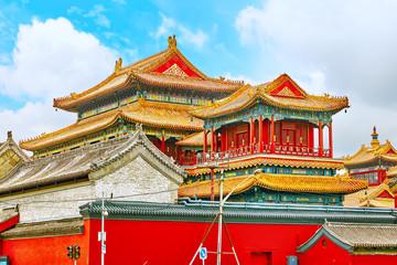 Beautiful View of Yonghegong Lama Temple.Beijing. Lama Temple is