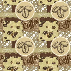 Vector seamless tiling patterns - coffee.