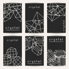 Set of business cards with geometric crystals and minerals