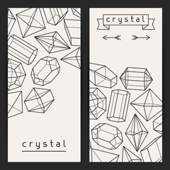 Abstract banners with geometric crystals and minerals