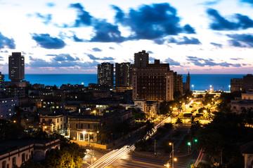 Sunset in Vedado neighborhood in Havana, Cuba
