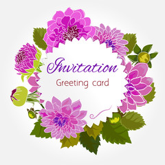 Romantic flower greeting card with dahlias and copy space