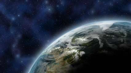 Earth like planet seen from space, with atmosphere glow and stars as background - Elements of this Image Furnished By NASA