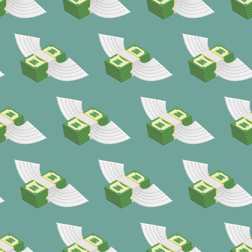 Dollars Cash with wings seamless pattern. Vector background