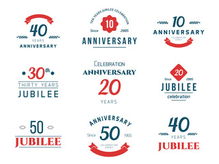 Vector set of anniversary signs, symbols. 10, 20, 30, 40, 50 years jubilee design elements collection.