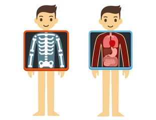Two illustrations of cute cartoon adult man with x-ray screen showing his internal organs and skeleton. Element of health infographics.