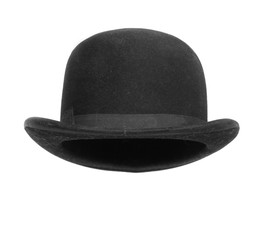Black bowler hat isolated on white background.
