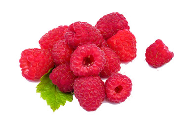 Raspberry fruit with leaf sprig, isolated over white background