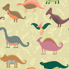 Seamless pattern with set funny dinosaurs in cartoon. Can be used for wallpapers, pattern fills, web page backgrounds,surface textures. - stock vector collection in retro colors
