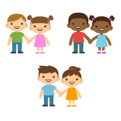 Three pairs of cute cartoon children smiling and holding hands: older boys and smaller girls. Caucasian and African American.