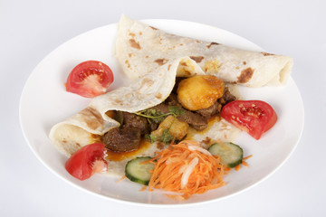 Mutton Curry on Roti with Carrot, Cucumber and Tomato Sambal