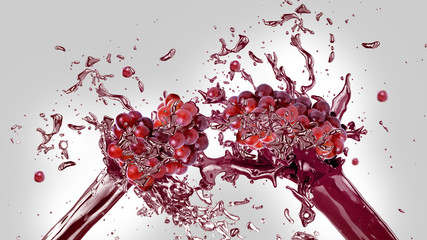 Fresh red grapes in juice splash over gray and white background